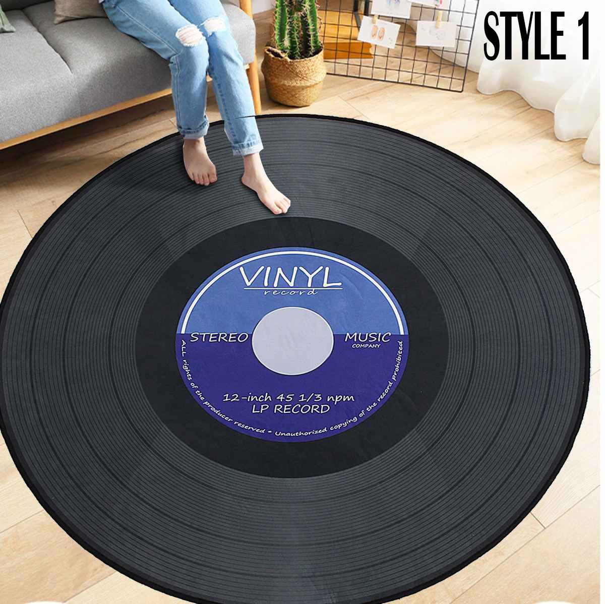 Vinyl record area round rug