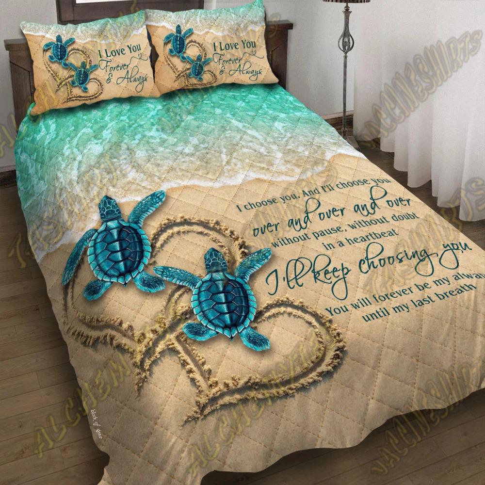 Sea Turtle Couple I love you and i'll choose you bedding set