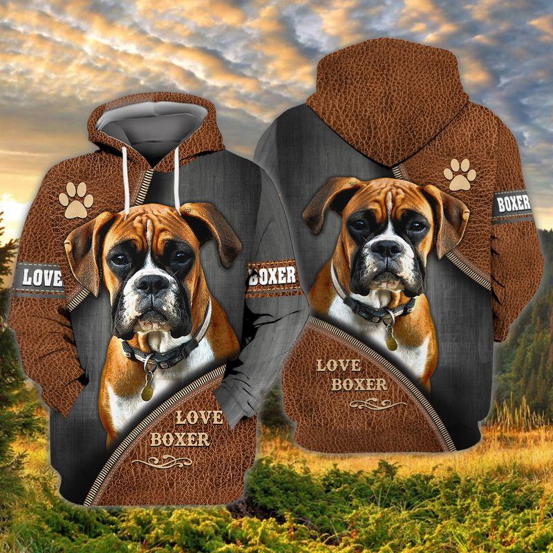 Love boxer dog 3D full print hoodie