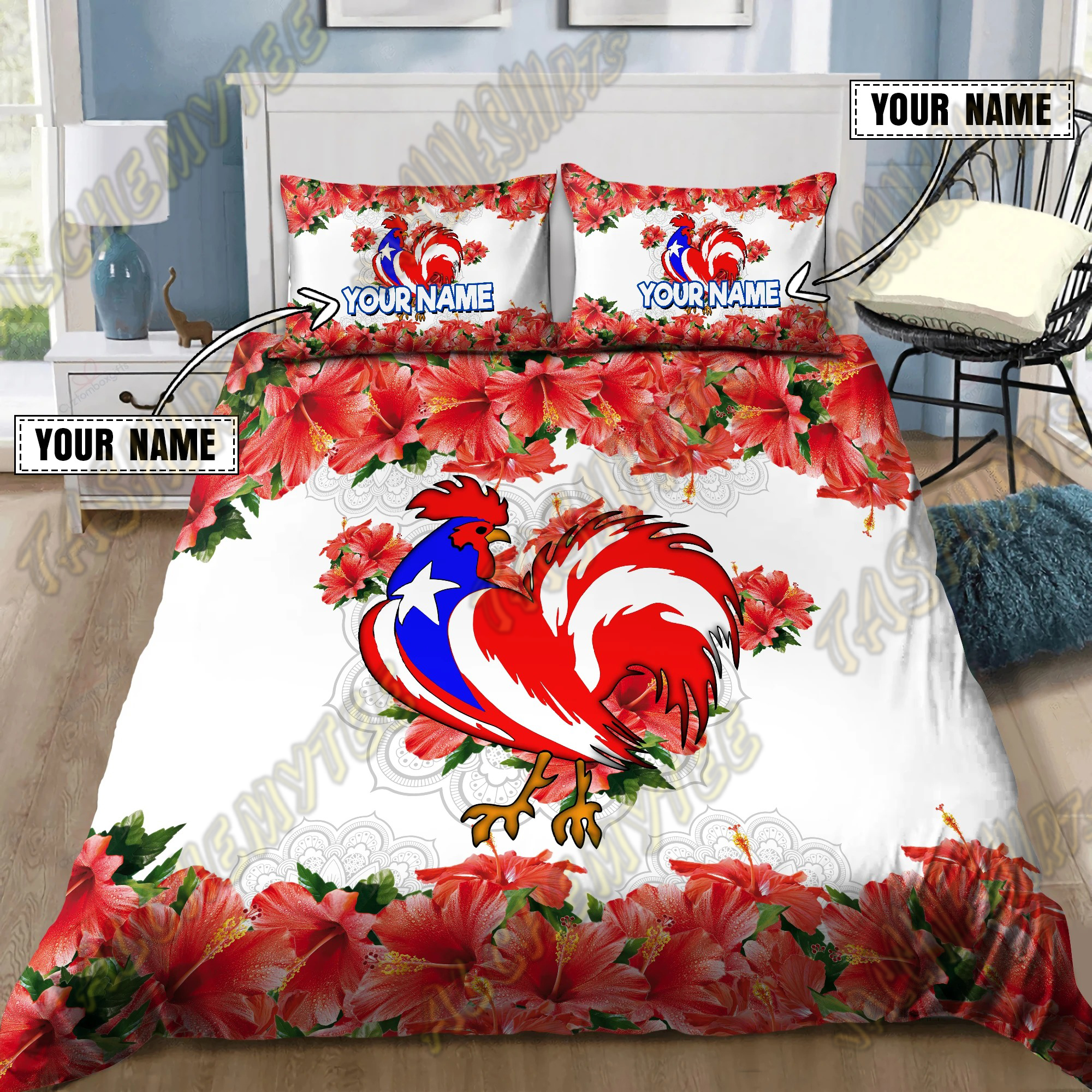 Customize Name Rooster Puerto Rico Bedding Set