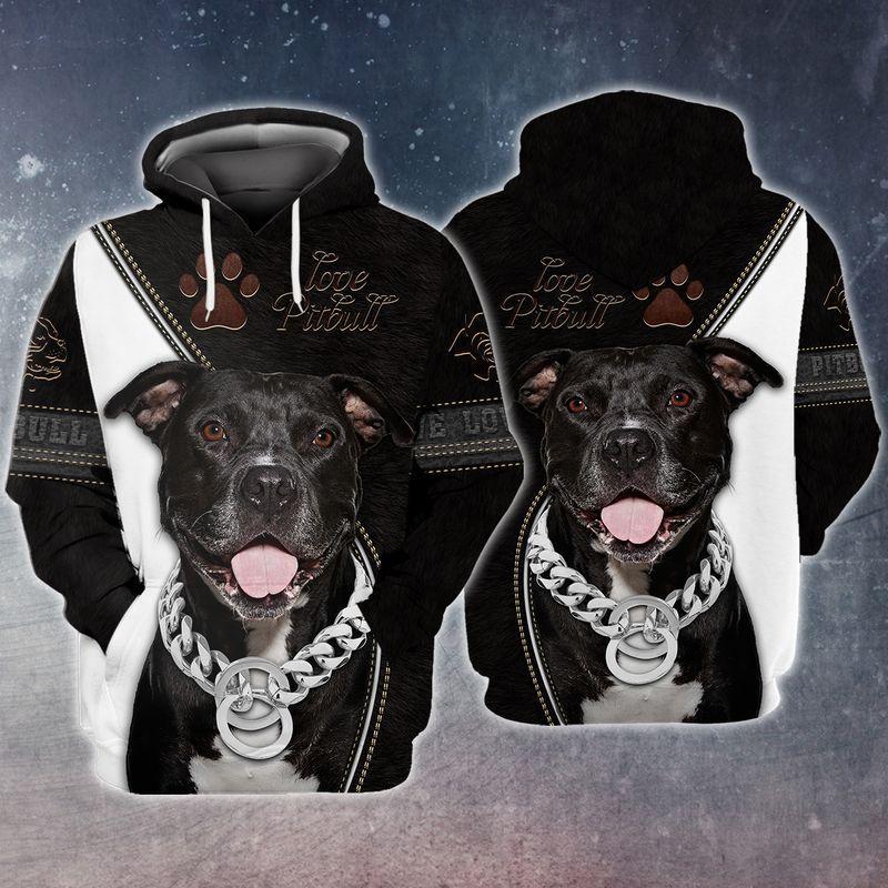 Pitbull lover black and white 3d full print hoodie