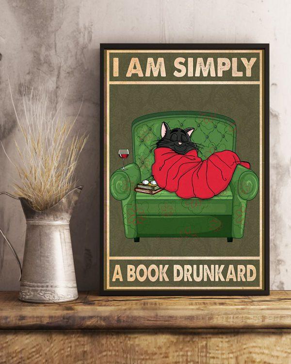 Cat wine i am simply a book drunkard poster