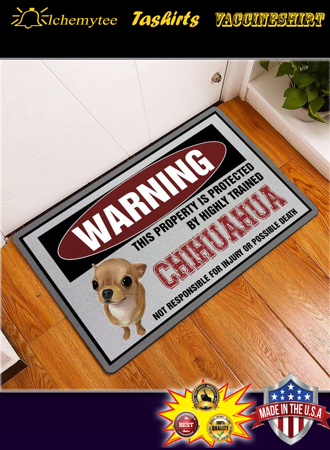 Warning this property is proctected by highly trained chihuahua doormat