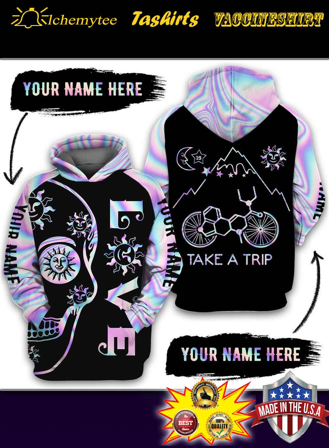 Personalized Name Hologram skull lsd bicycle take a trip 3d hoodie