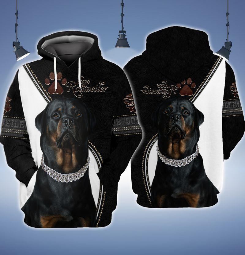 Love Rottweiler 3d full print hoodie