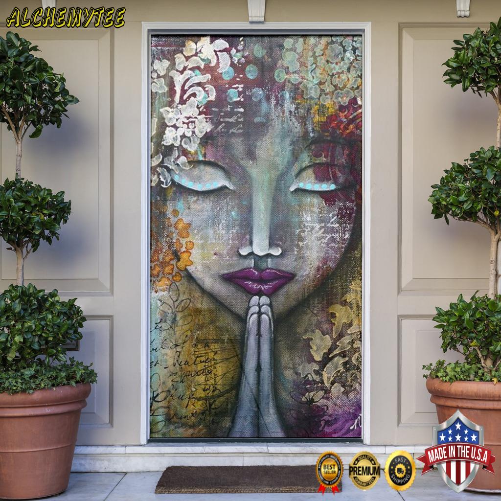 Yoga hippie girl door cover