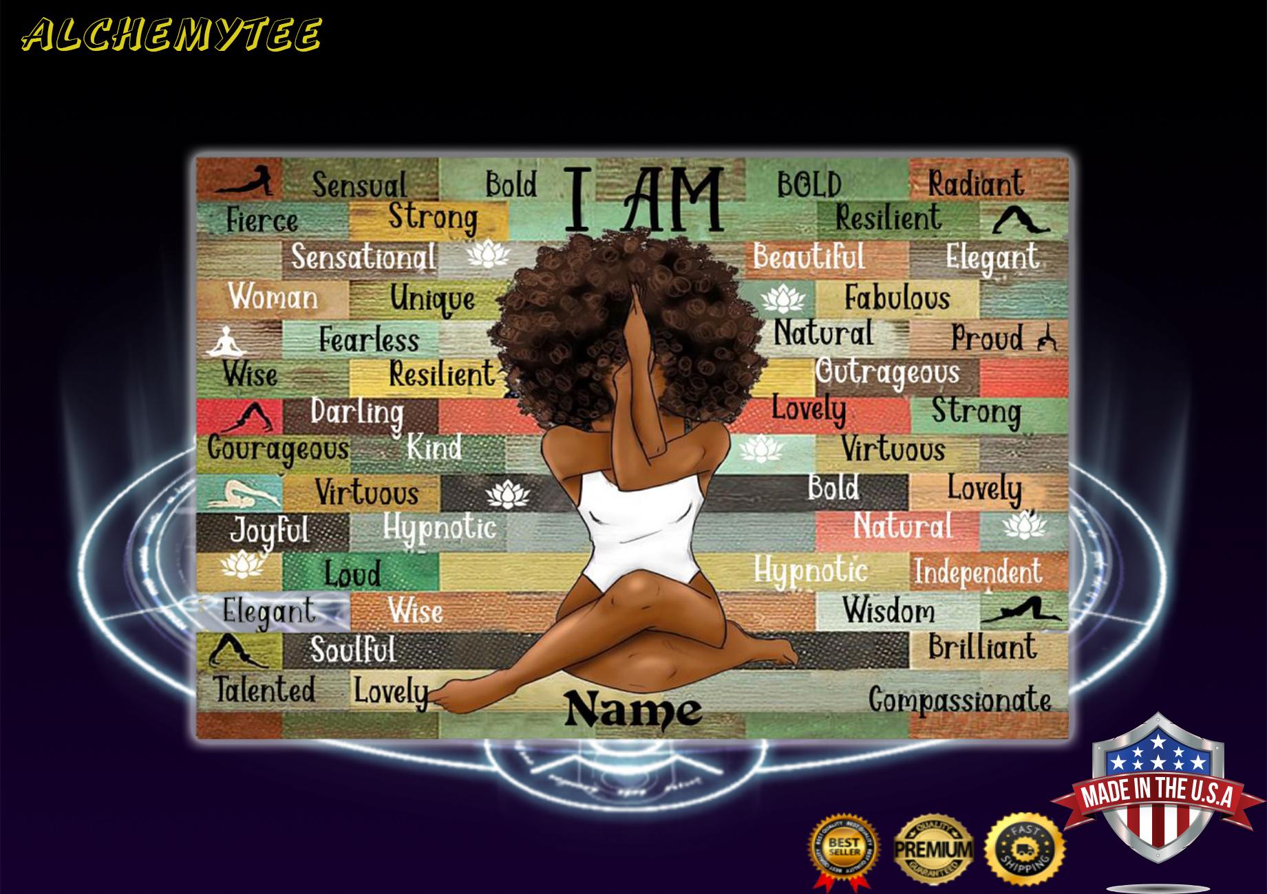African girl i am queen custom name poster
