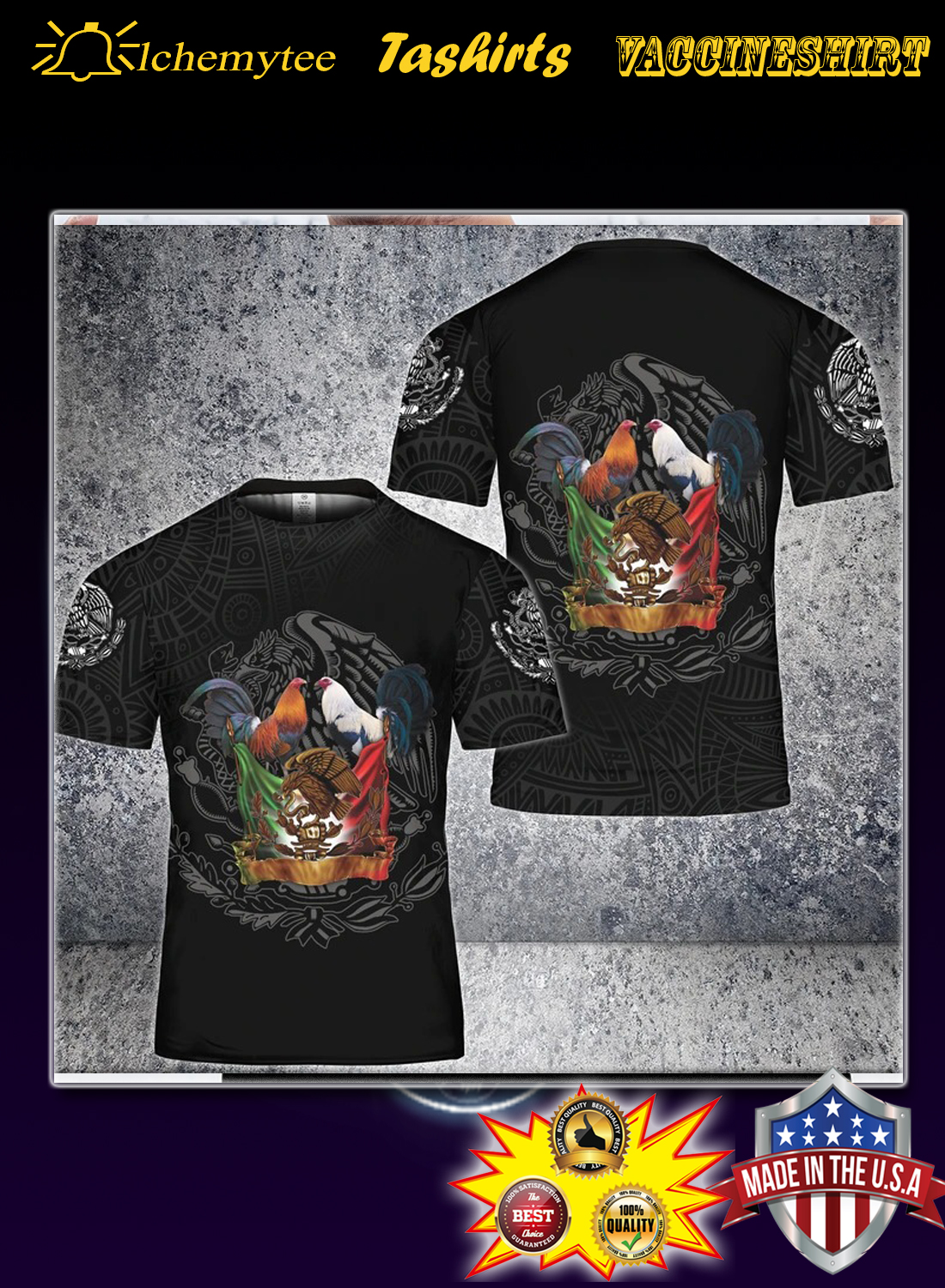 Mexico Flag Rooster 3D Shirt