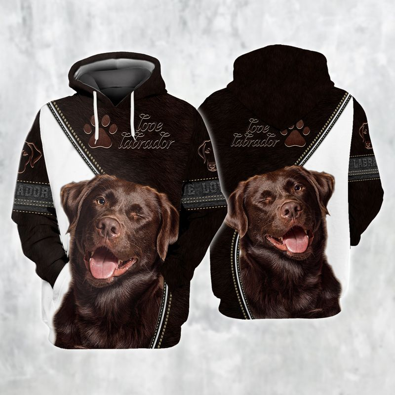 Love labrador black and white 3d full print hoodie and shirts