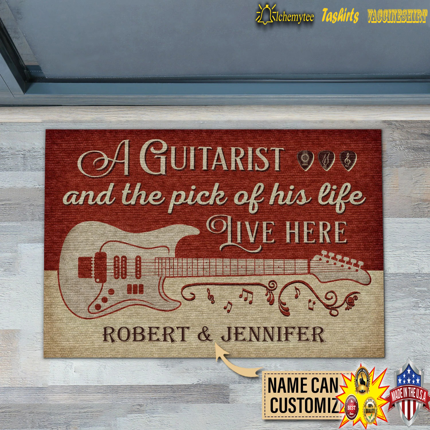 Personalized A guitarist and the pick of his life live here custom name doormat