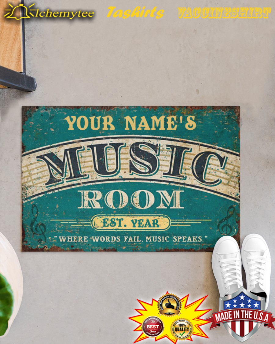 Personalized Music Room Where Words Fail Music Speaks Doormat