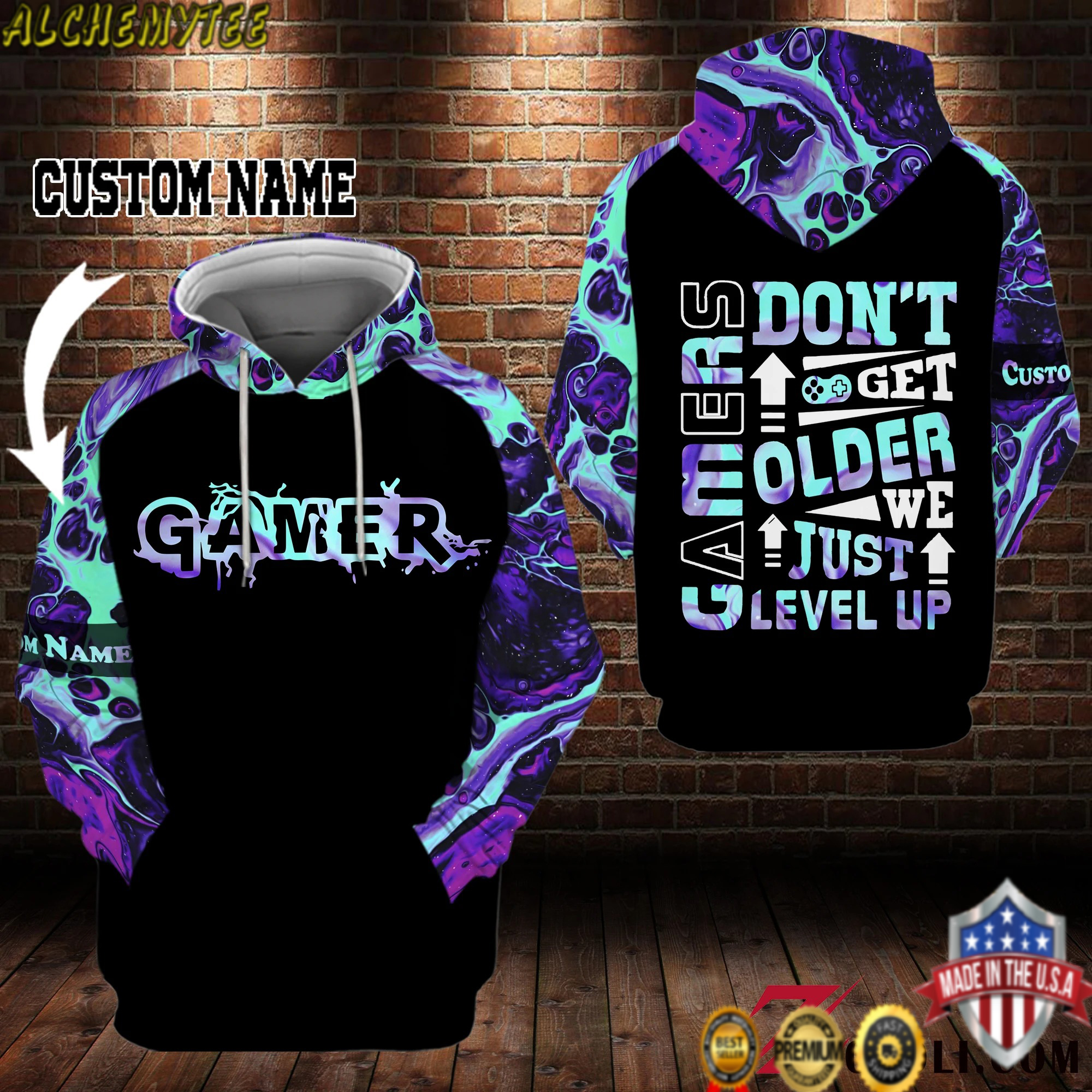 Personalized Name Gamers don't get older we just level up 3d hoodie