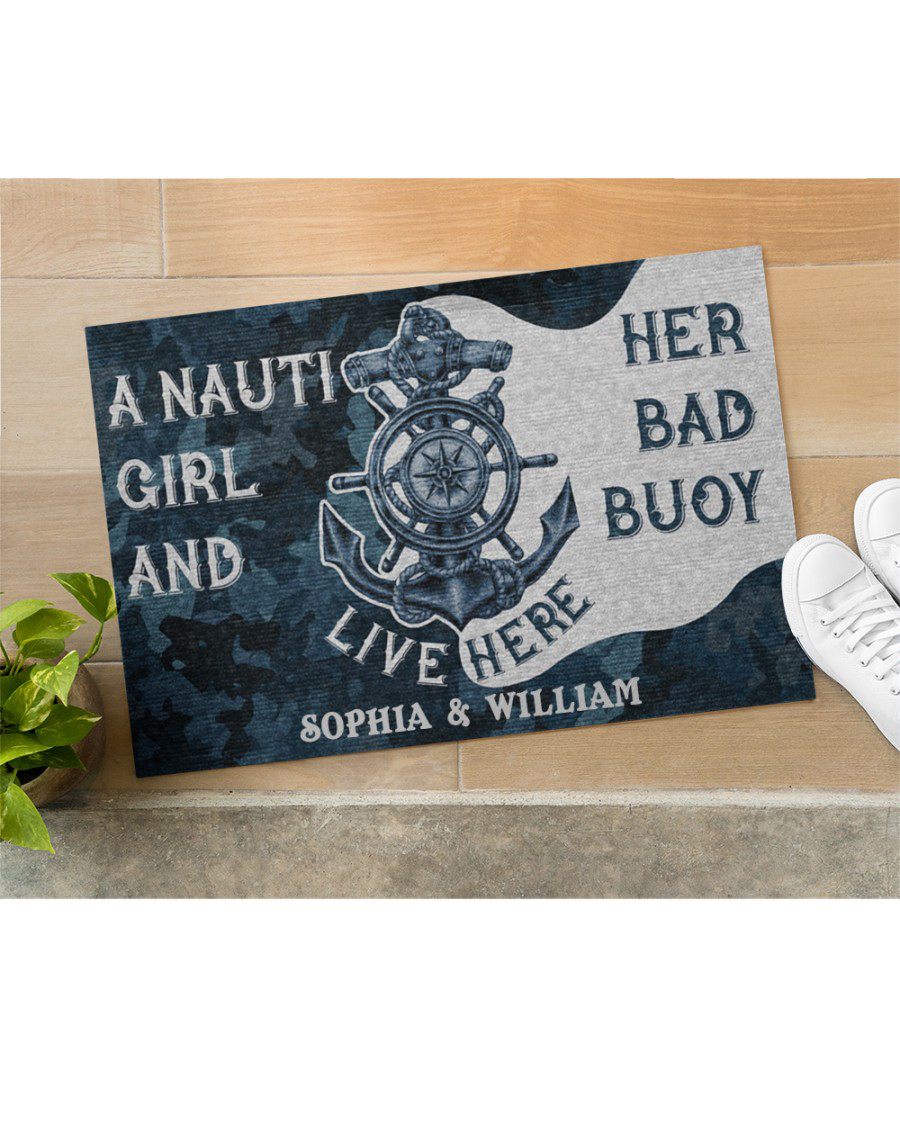 Personalized Sailor Nauti Girl And Her Bad Buoy Live Here Doormat