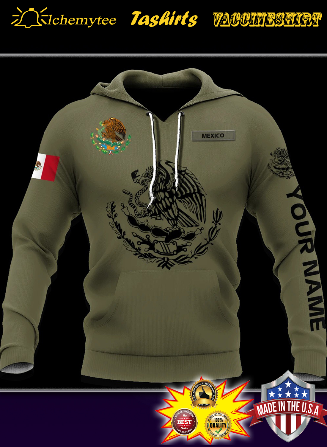 Personalized custom name Mexican 3d all over printed hoodie
