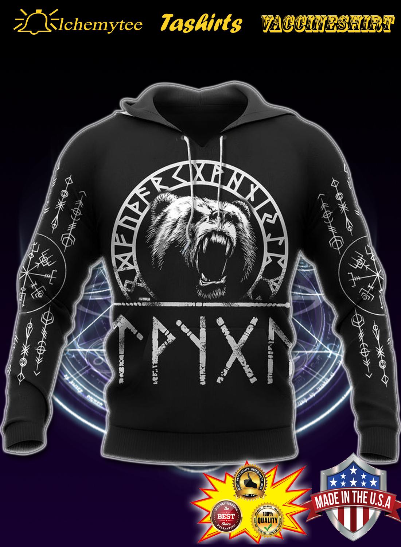 Viking bear raven of odin 3d hoodie