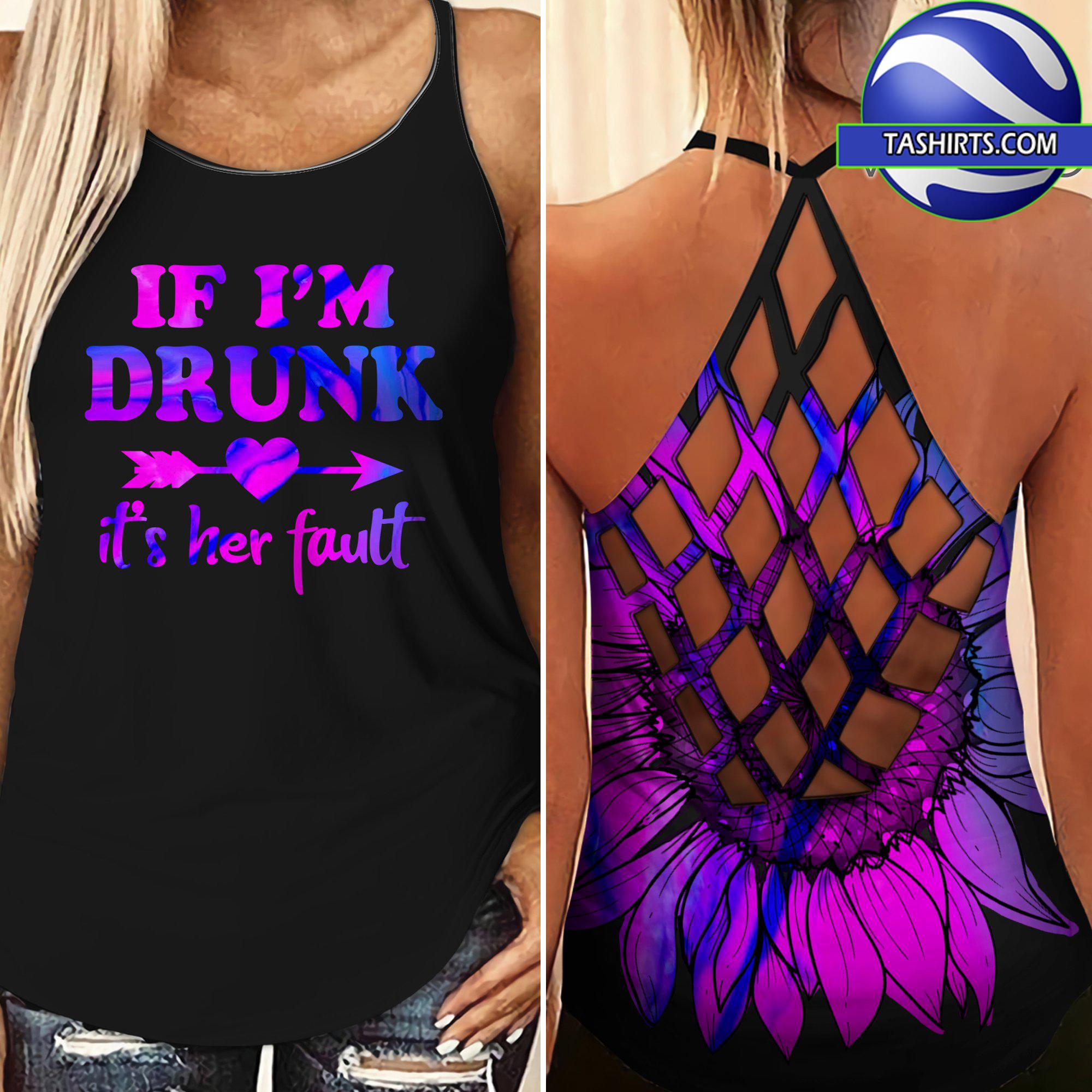 Bestie if i'm drunk it's her fault criss-cross open back camisole tank top