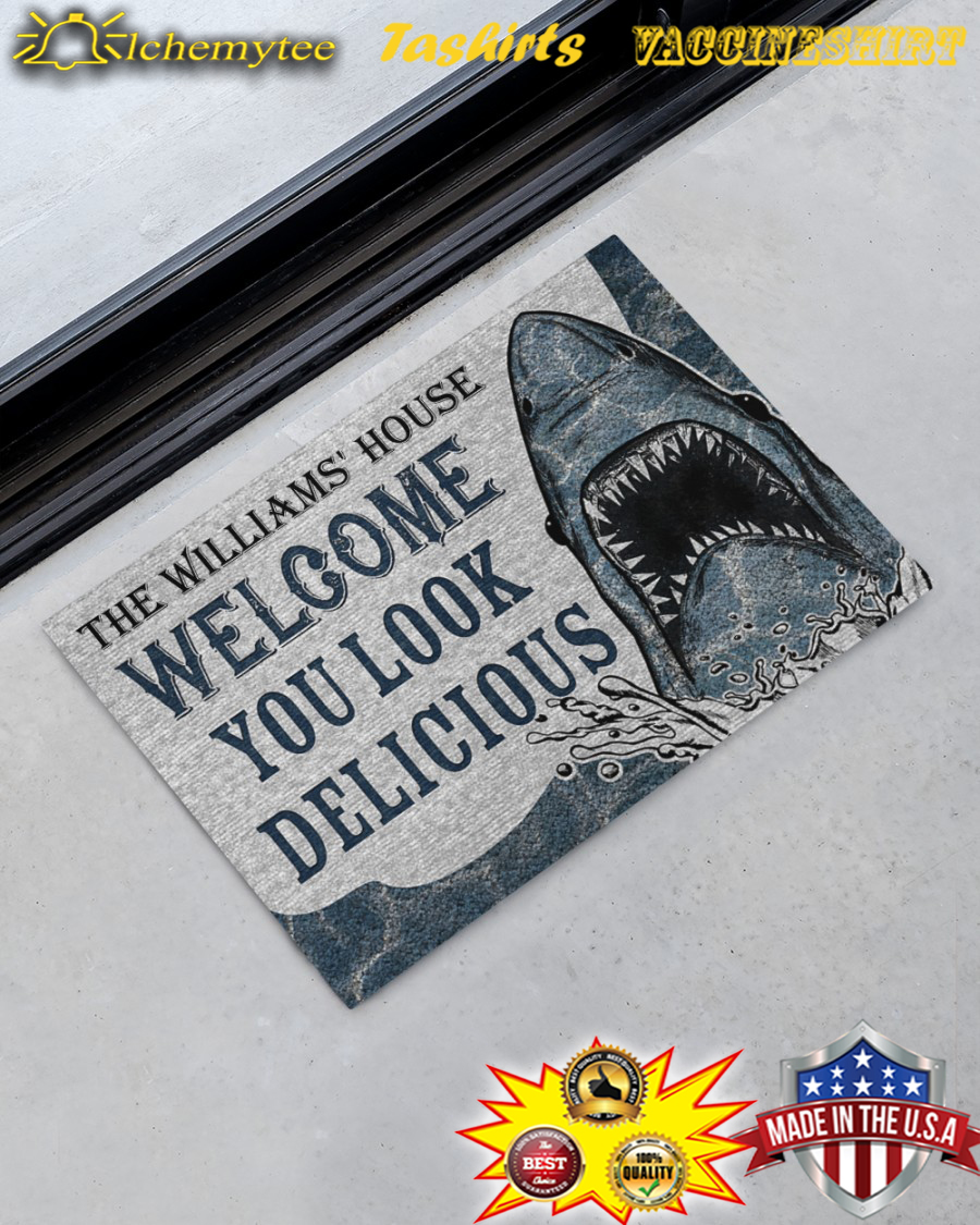 Personalized Custom Name Welcome You Look Delicious Shark Doormat