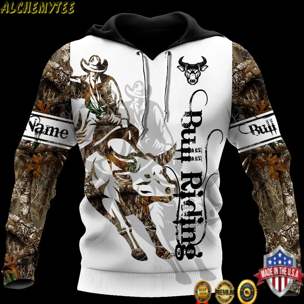 Personalized Name Bull riding tattoo 3d hoodie