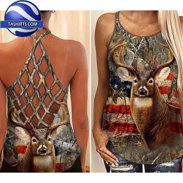 Hunting girl deer criss-cross open back camisole tank top