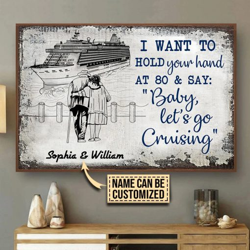 Personalized Old Couple Baby Let's Go Cruising Poster