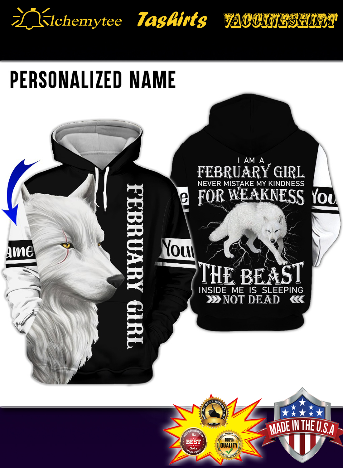 Personalized Name Wolf I Am A February Girl 3D Hoodie