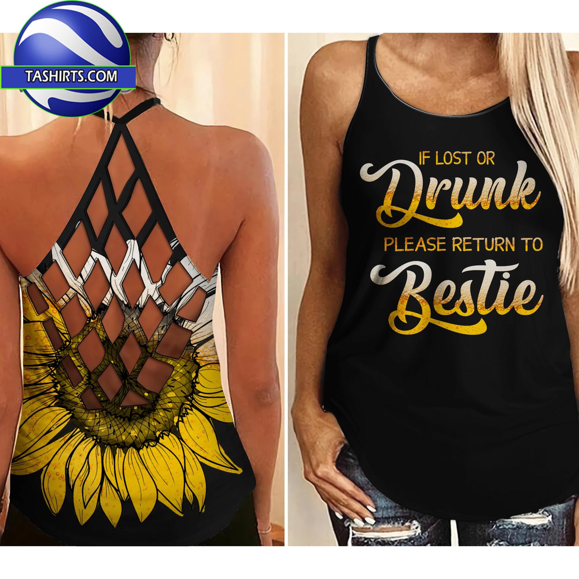 If lost or drunk please return to bestie i'm the bestie criss-cross open back camisole tank top