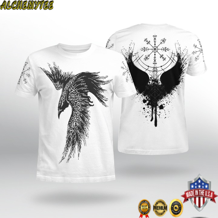 Viking raven vegvisir 3d shirt