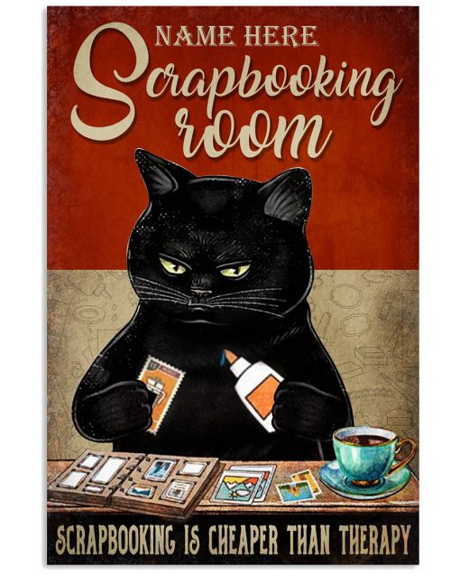 Black cat scrapbooking room scrapbooking is cheaper than therapy poster