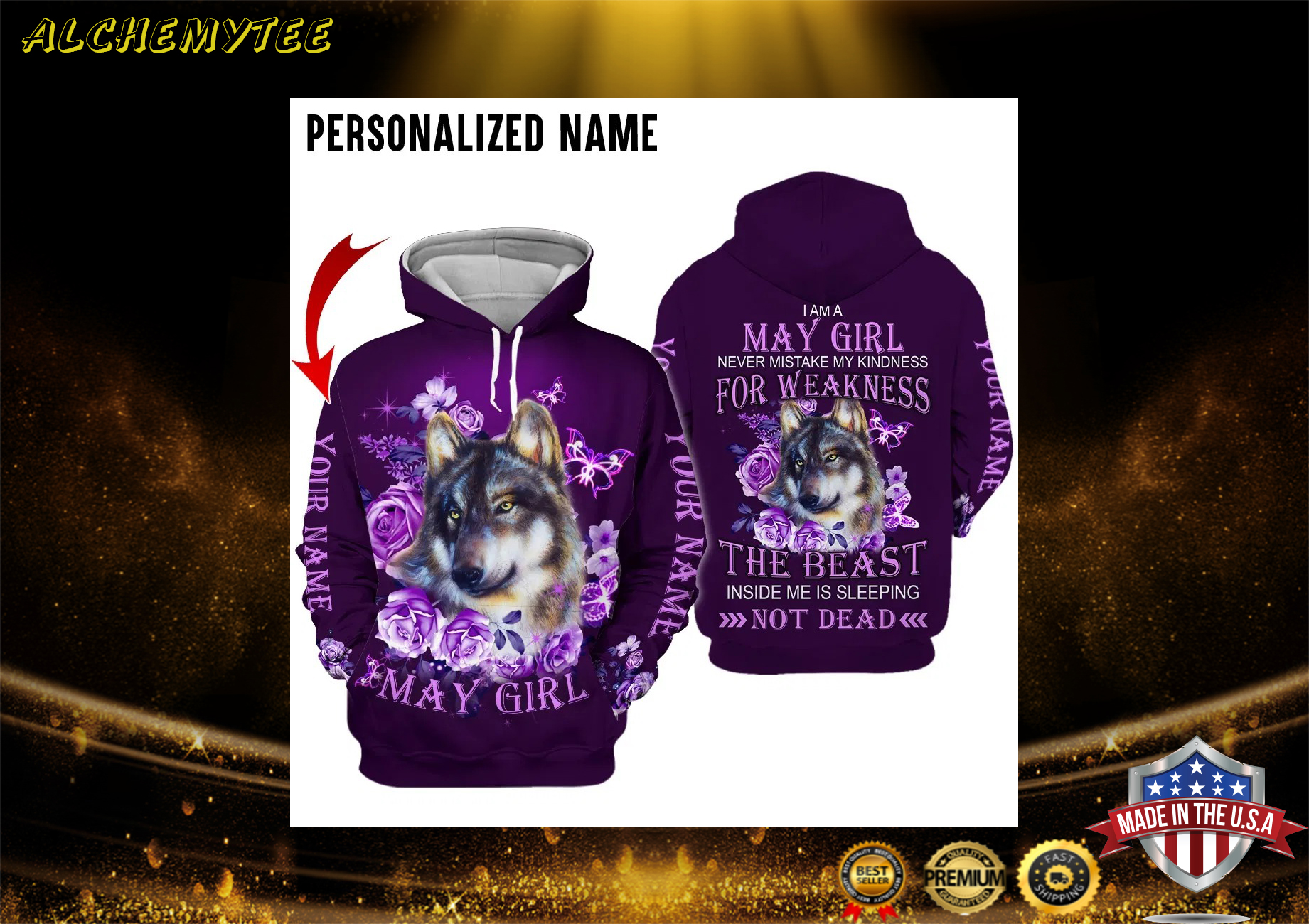 Personalized Name Wolf I Am A May Girl 3D Hoodie