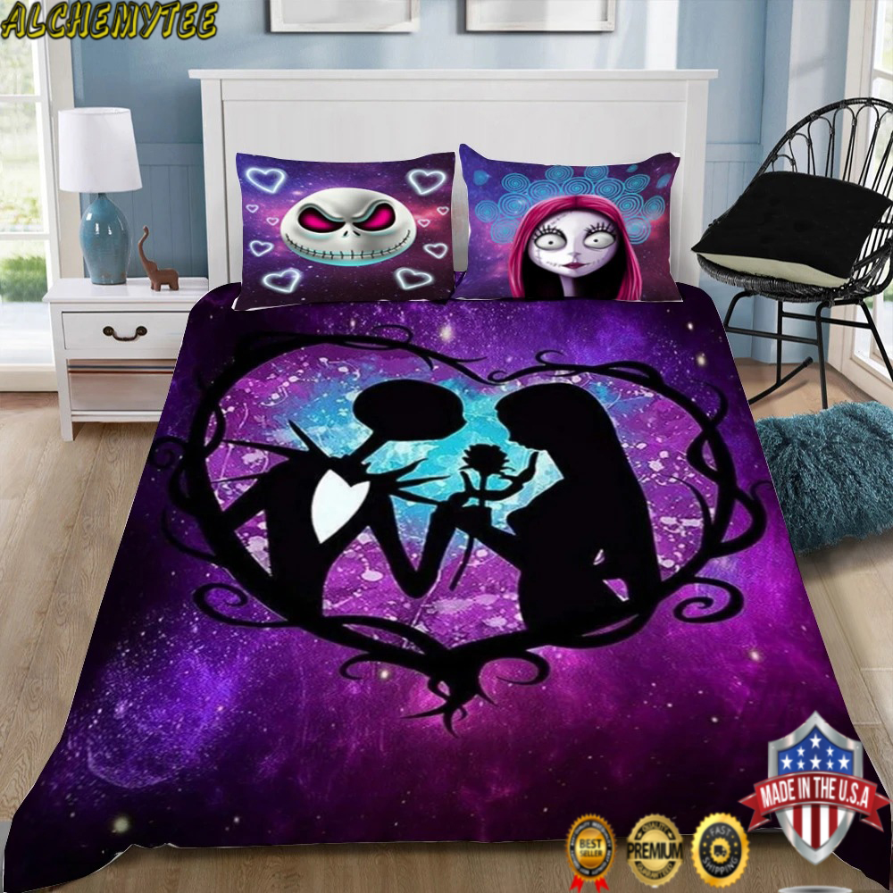 3D Nightmare Before Christmas Galaxy Together Forever Bedding Set