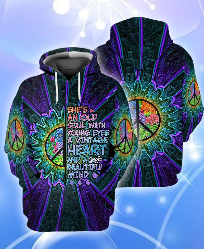 Hippie trippy she's an old soul with young eyes 3D hoodie