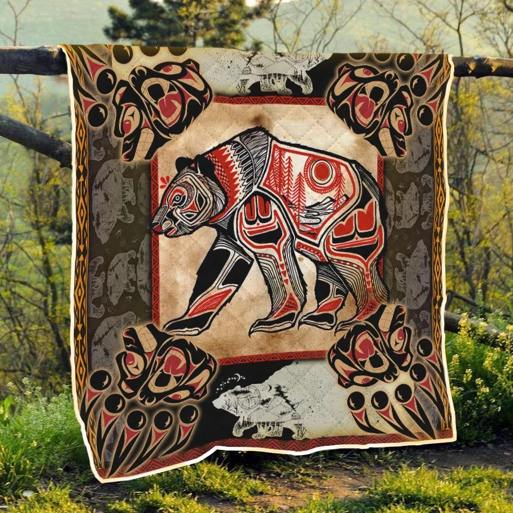 Native Bear Tattoo Quilt Blanket