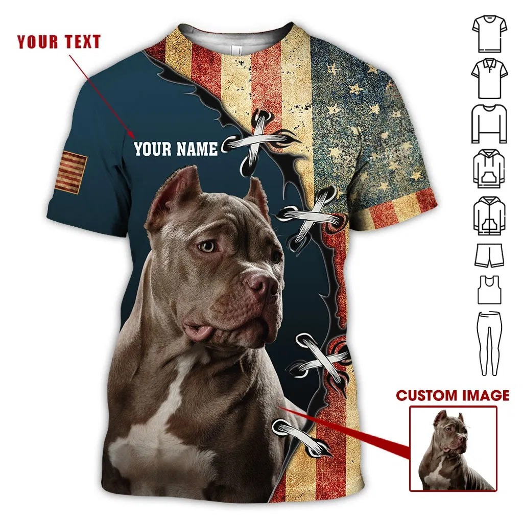Customized Image And Name Pit Bull Dog 3D Hoodie
