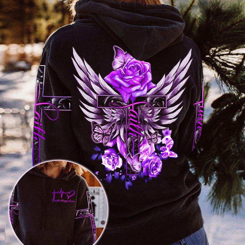 Purple Rose Faith Hope Love 3D Hoodie