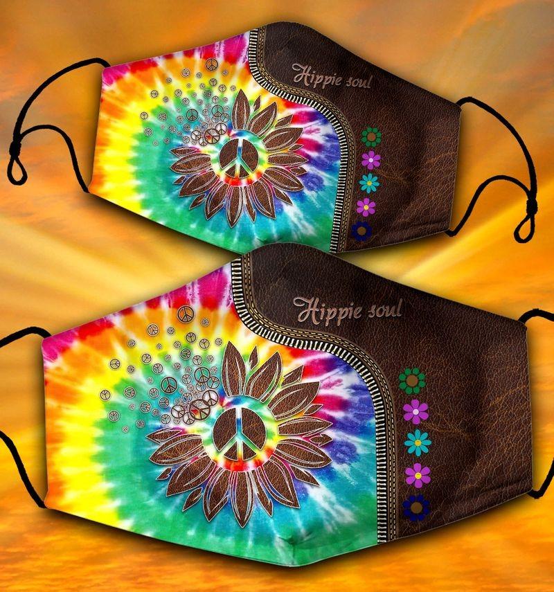 Sunflower peace symbol hippie soul face mask