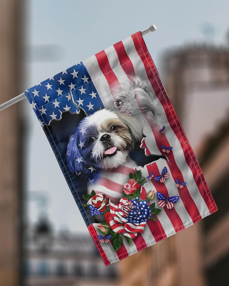 Shih tzu american house flag garden flag