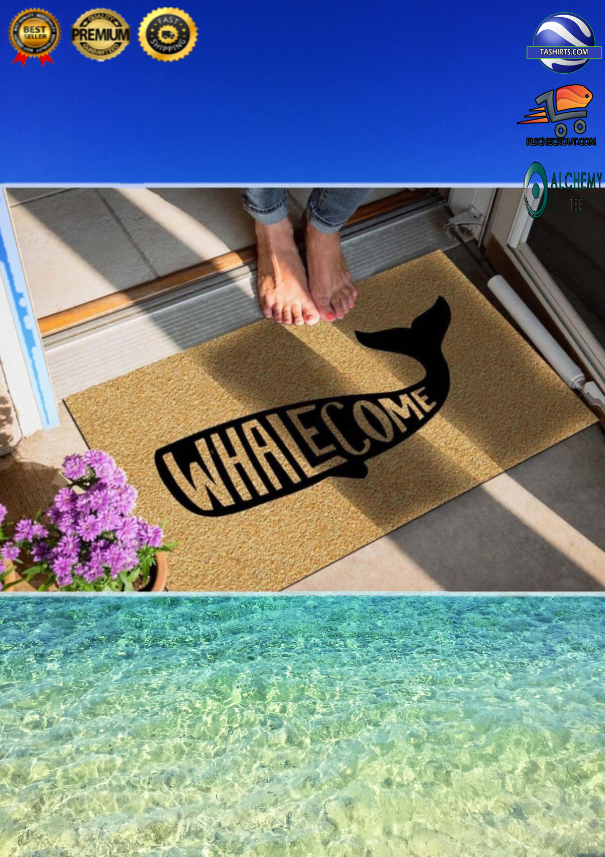Whalecome whale doormat