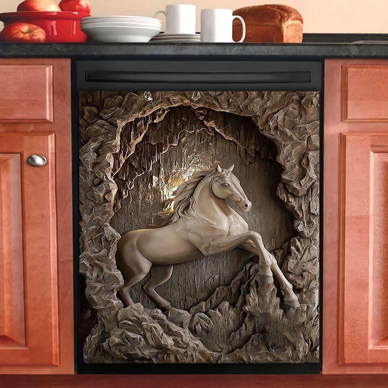 Horse Decor 3D Kitchen Dishwasher Cover