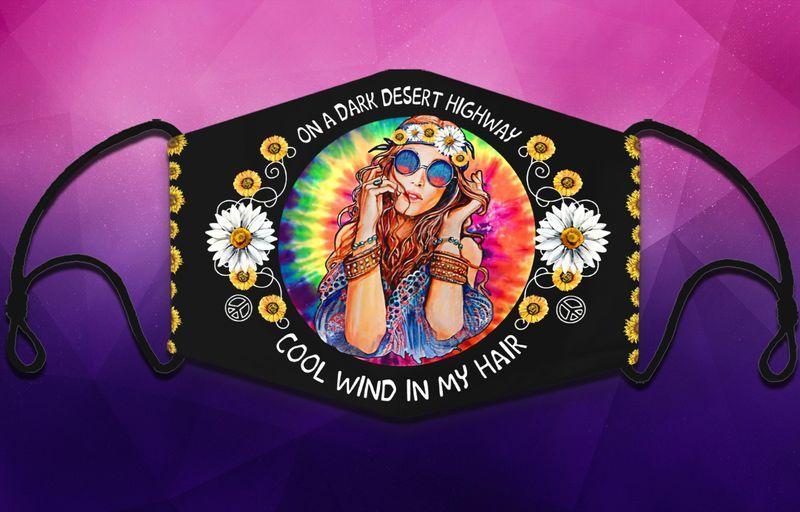 Hippie girl on a dark desert highway face mask