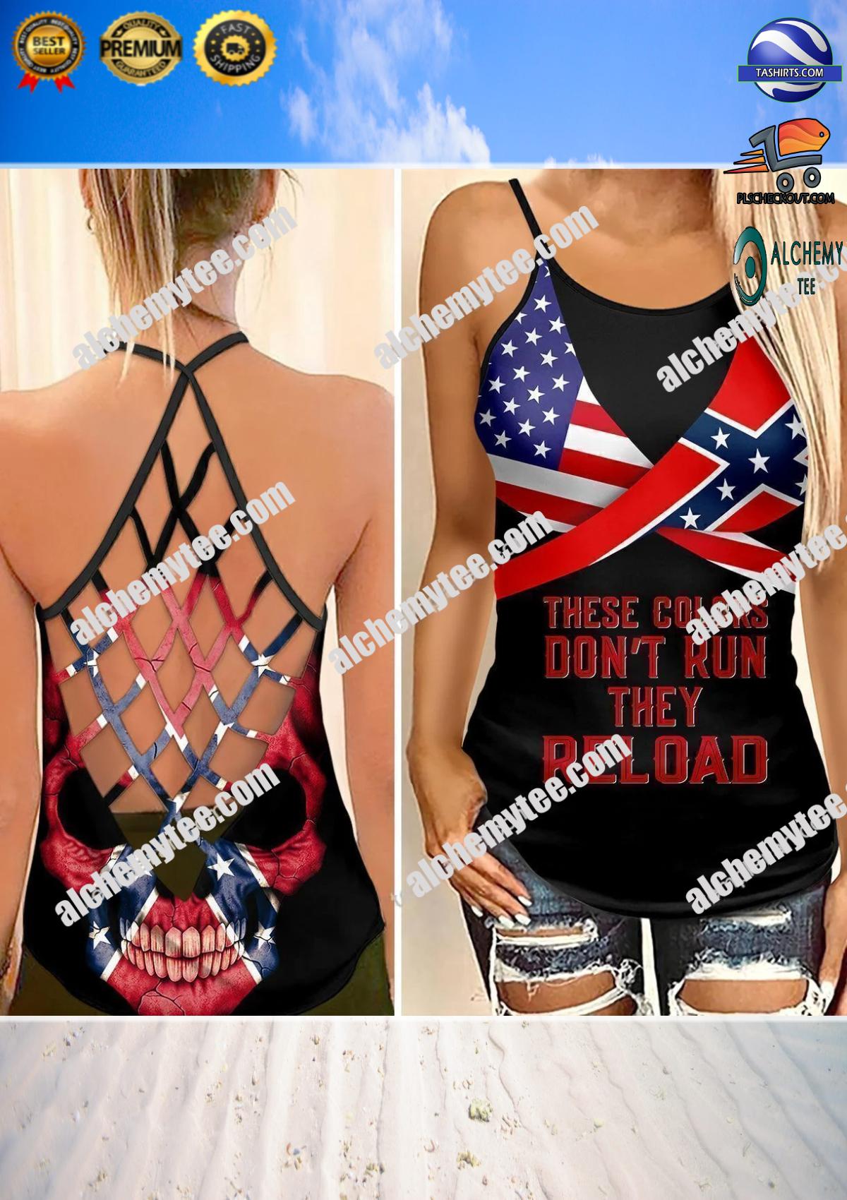 Confederate flag skull woman cross tank top