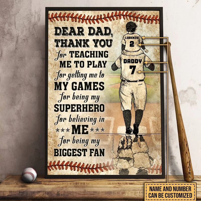 Personalized baseball dear dad thank you for teaching me to play poster