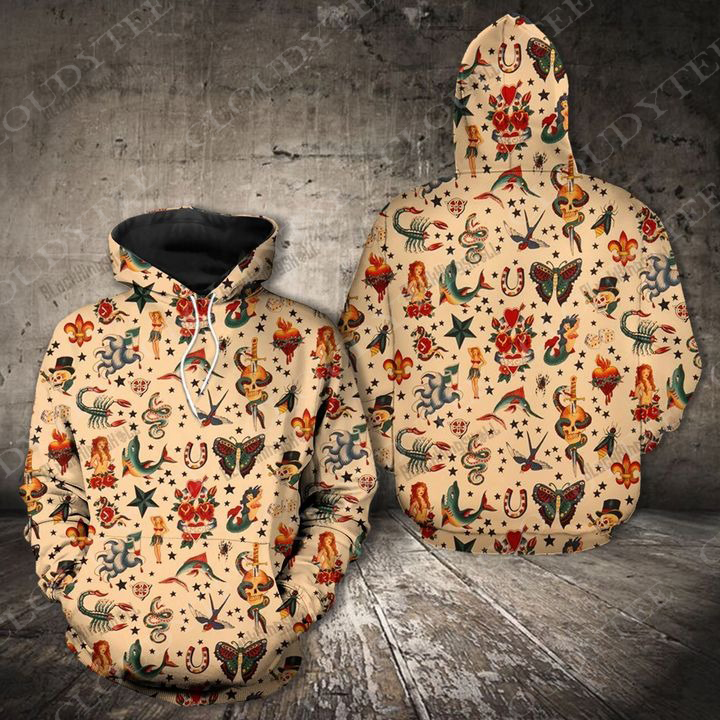 Old school tattoo 90s combo 3d hoodie and shirts