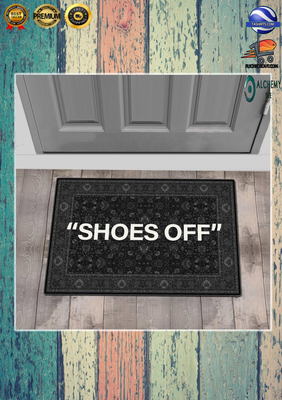 Shoes off black white doormat