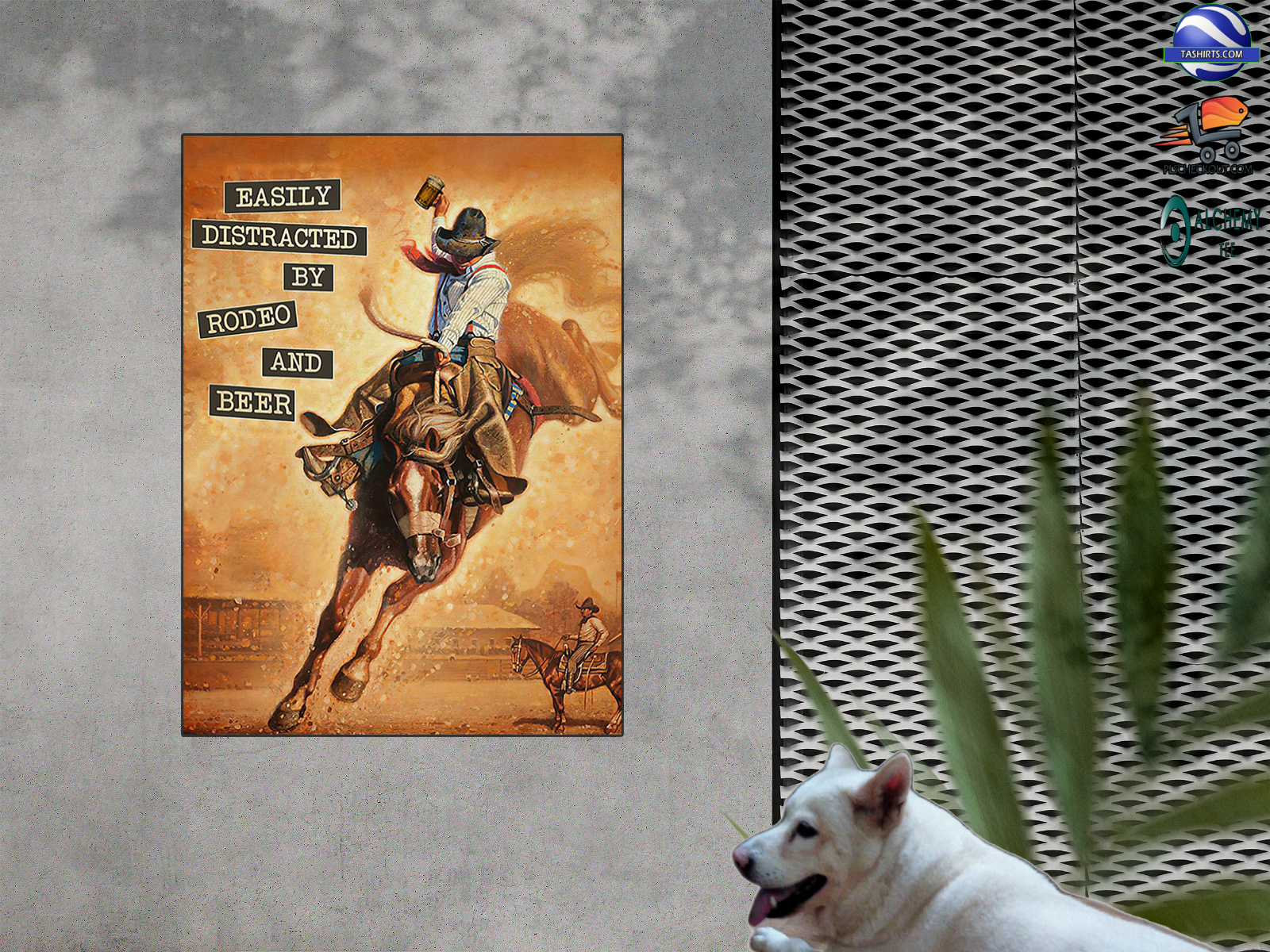 Easily distracted by rodeo and bear vintage poster