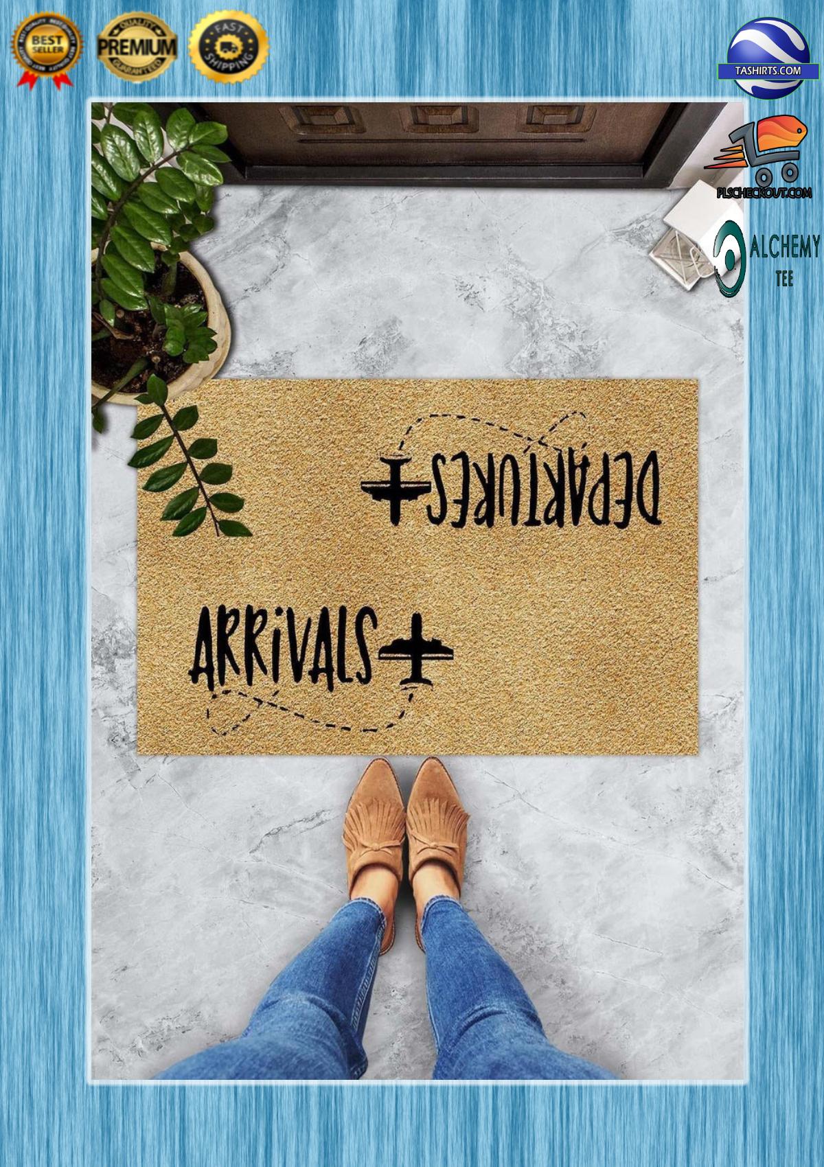 Arrivals departures airplane doormat