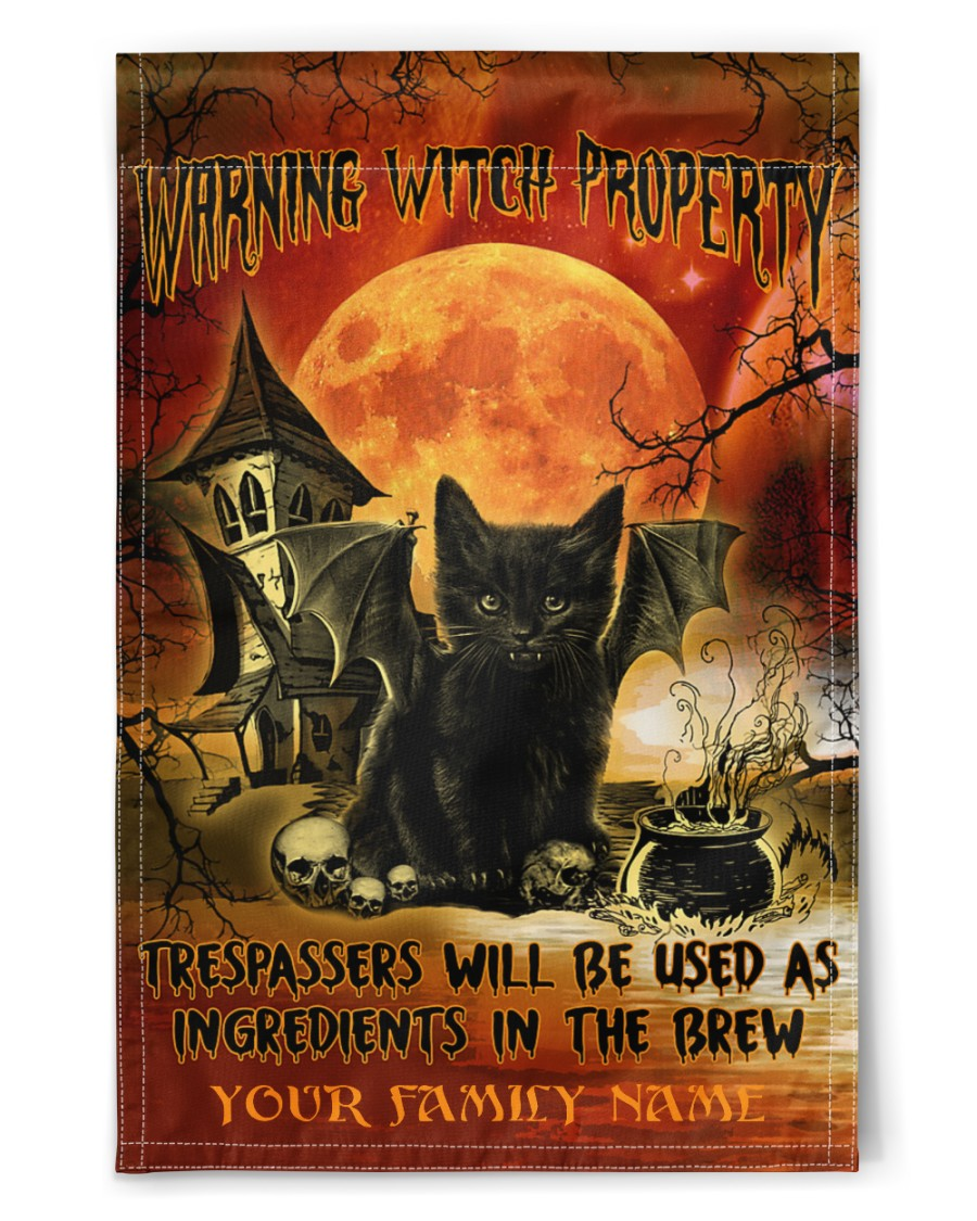 Halloween Black Cat warning witch property custom name flag