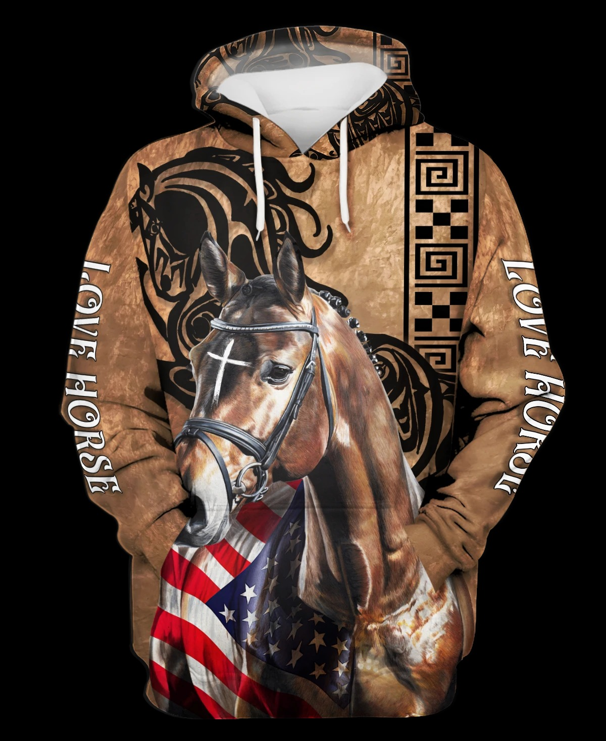 Love Horse american flag 3D polo shirt and hoodie