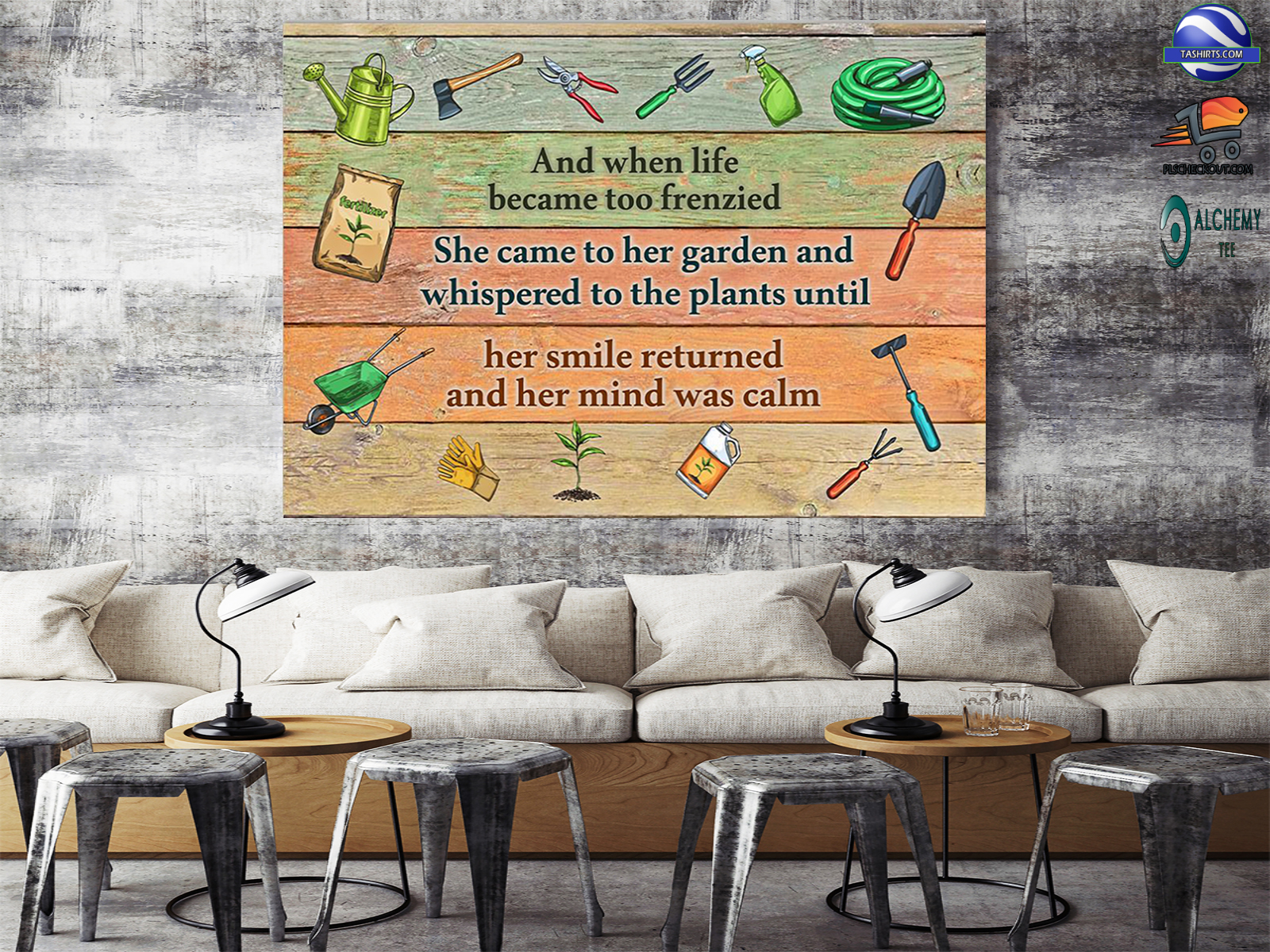 And when life became too frenzied she Gardening Poster