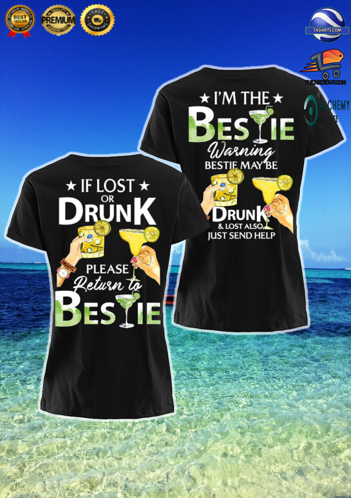 If lost or drunk please return to bestie i'm the bestie couple shirt