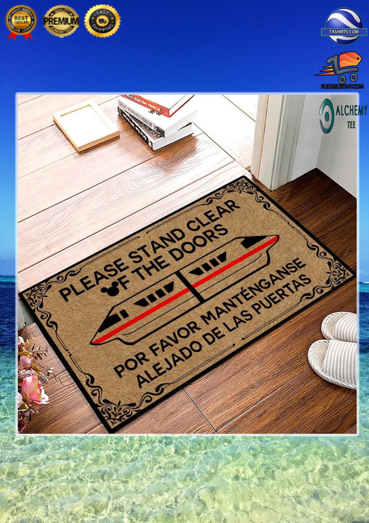 Monorail disney please stand clear of the doors doormat Por favor manténganse alejado de las puertas felpudo